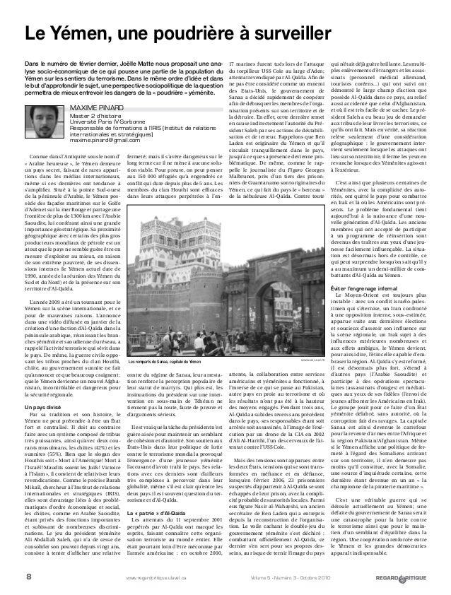 8 Volume 5 - Numéro 3 - Octobre 2010www.regardcritique.ulaval.ca Connue dans l'Antiquité sous le nom d' « Arabie heureuse...