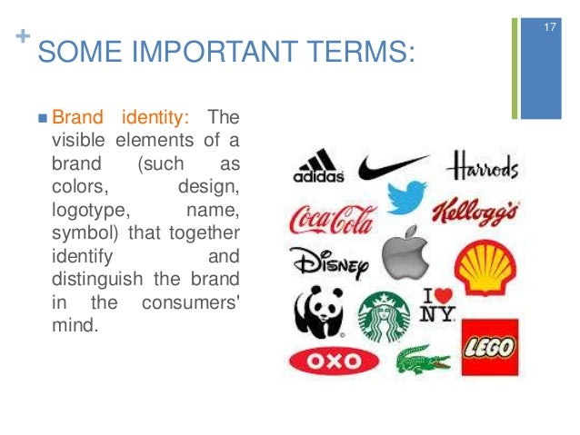 + SOME IMPORTANT TERMS:  Brand identity: The visible elements of a brand (such as colors, design, logotype, name, symbol)...