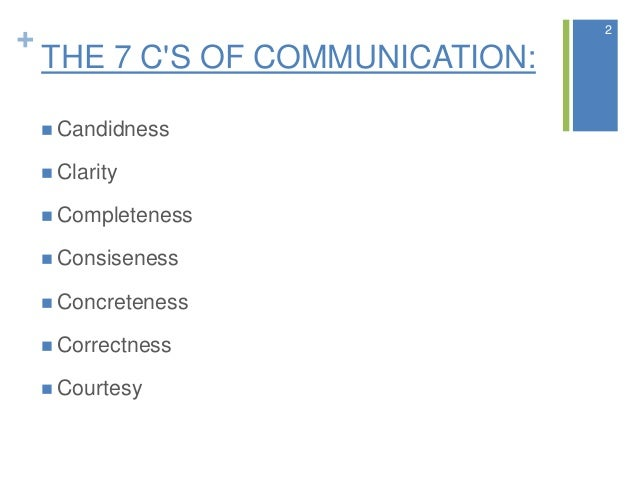 + THE 7 C'S OF COMMUNICATION:  Candidness  Clarity  Completeness  Consiseness  Concreteness  Correctness  Courtesy 2