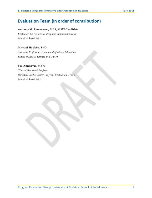 El Sistema Formative and Outcome Evaluation Final Report