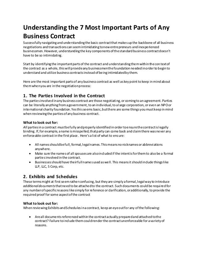 Understanding the 7 Most Important Parts of Any Business Contract – Business Contract