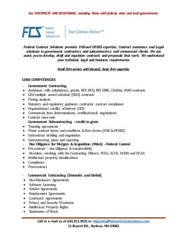 Federal Contract Solutions Capability Statement Commercial And Gove