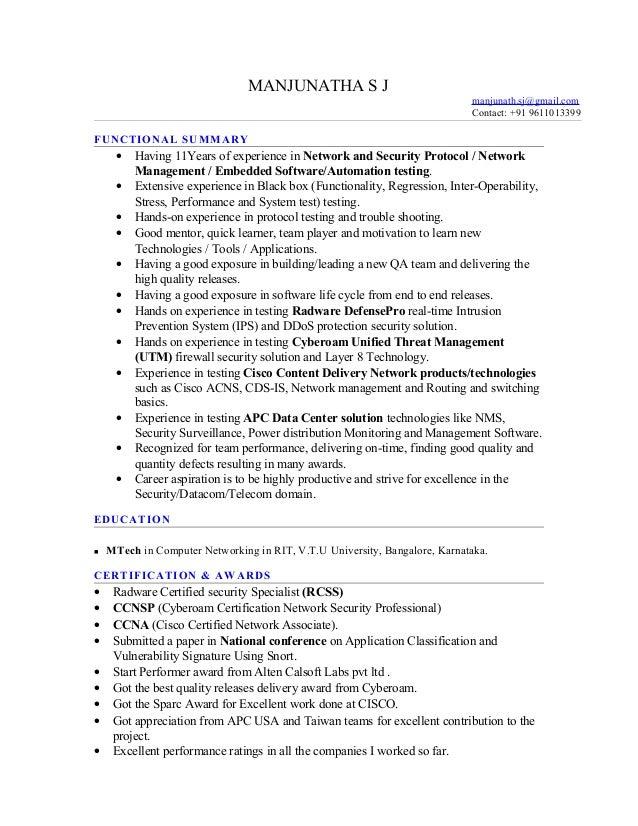 11 year exp network protocol testing manjunathasj resume