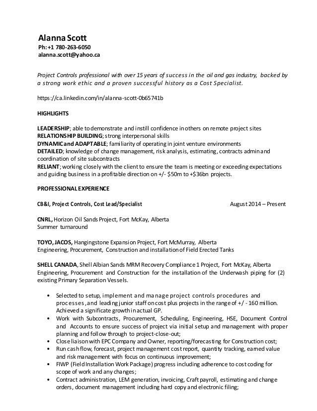 resume alanna scott project controls specialist