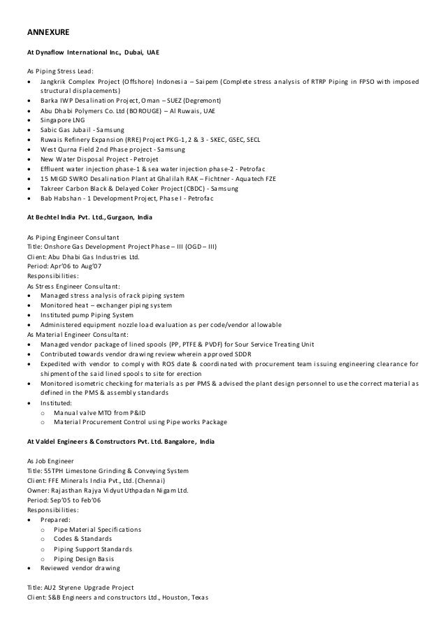 projects managed 3 - Piping Stress Engineer Sample Resume