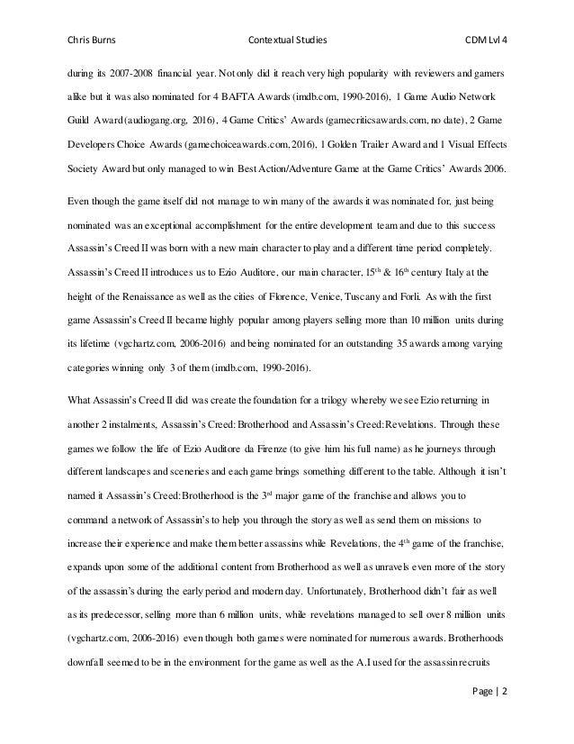 contextual studies essay  2 chris burns contextual