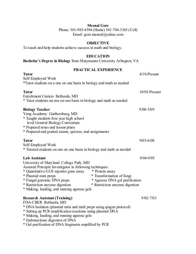 teaching and tutoring resume