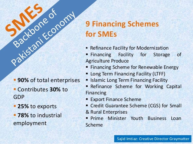  90% of total enterprises  Contributes 30% to GDP  25% to exports  78% to industrial employment 9 Financing Schemes fo...