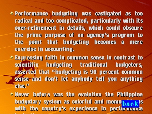 approaches and techniques in philippine budgeting Lessened by moving to alternative approaches to budgeting all the economic techniques have their problems methods of budgeting.