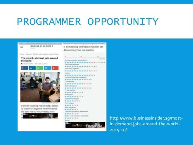 PROGRAMMER OPPORTUNITY http://www.businessinsider.sg/most- in-demand-jobs-around-the-world- 2015-10/