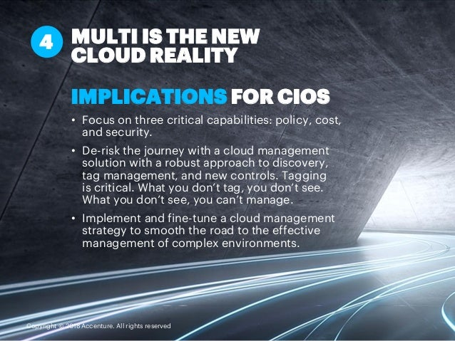 IMPLICATIONS FOR CIOS • Focus on three critical capabilities: policy, cost, and security. • De-risk the journey with a clo...