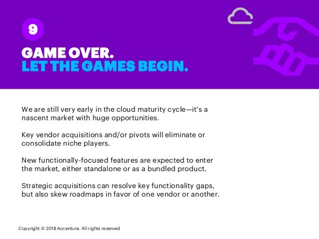 We are still very early in the cloud maturity cycle—it's a nascent market with huge opportunities. Key vendor acquisitions...