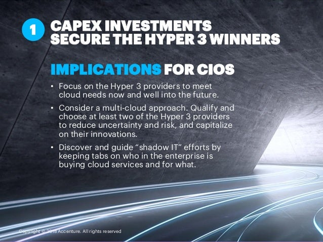 IMPLICATIONS FOR CIOS • Focus on the Hyper 3 providers to meet cloud needs now and well into the future. • Consider a mult...
