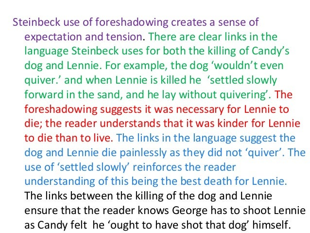 """how steinbeck uses foreshadowing and settings John steinbeck uses foreshadowing through out the story of """"of mice and men"""" to prepare the reader for the final scene foreshadowing is the composition of."""