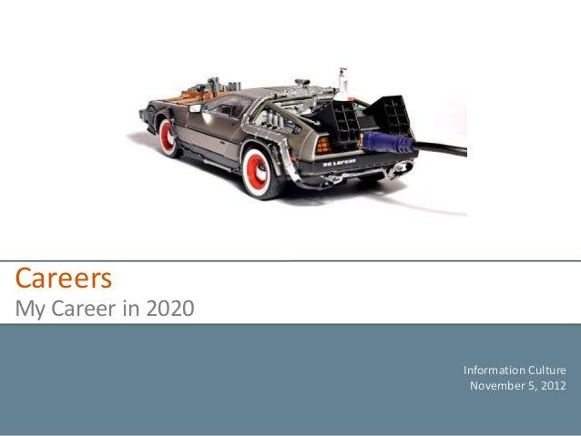 CareersMy Career in 2020                    Information Culture                     November 5, 2012