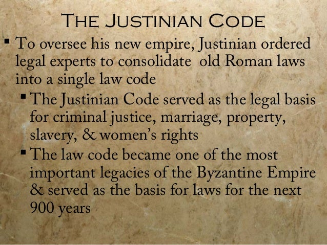 an analysis of the topic of the justinian code The justinian code was created by the emperor justinian in the late days of the roman (or byzantine) empire this lesson will look into why the.