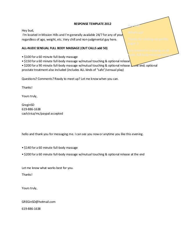 RESPONSE TEMPLATE 2012 Hey bud, I'm located in Mission Hills and I'm generally available 24/7 for any of your body work ne...