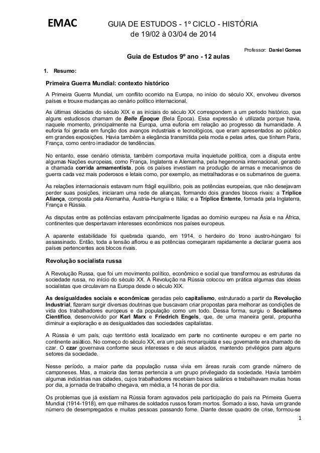 EMAC  GUIA DE ESTUDOS - 1º CICLO - HISTÓRIA de 19/02 à 03/04 de 2014 Professor: Daniel Gomes  Guia de Estudos 9º ano - 12 ...