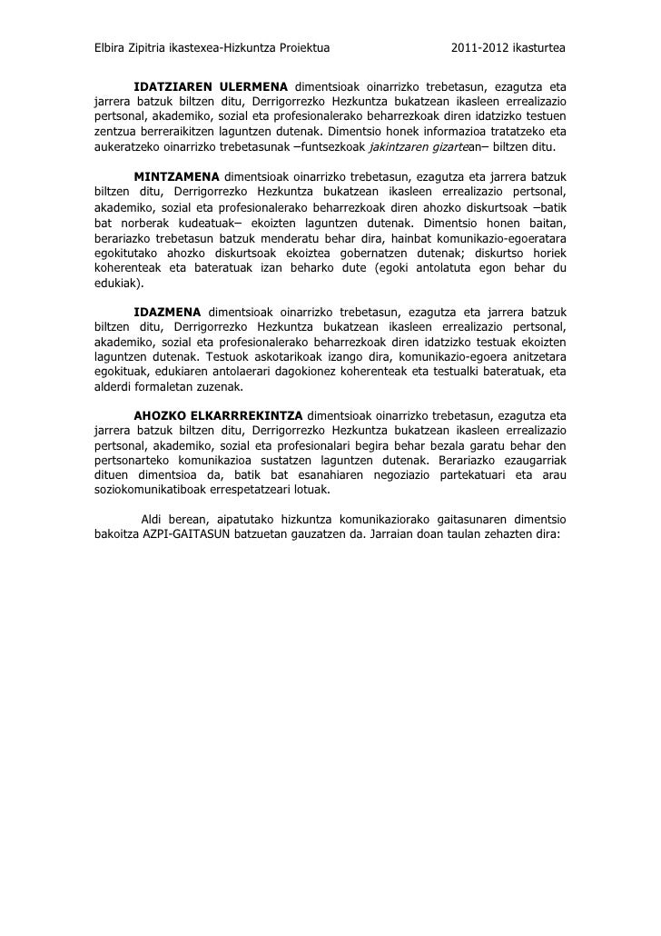 Elbira Zipitria ikastexea-Hizkuntza Proiektua                   2011-2012 ikasturtea        IDATZIAREN ULERMENA dimentsioa...