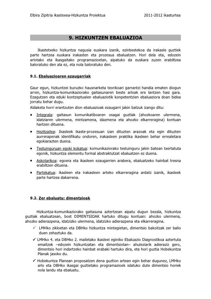 Elbira Zipitria ikastexea-Hizkuntza Proiektua                      2011-2012 ikasturtea                          9. HIZKUN...