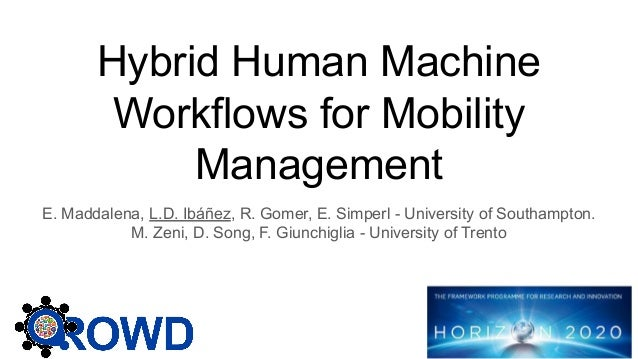 Hybrid Human Machine Workflows for Mobility Management E. Maddalena, L.D. Ibáñez, R. Gomer, E. Simperl - University of Sou...