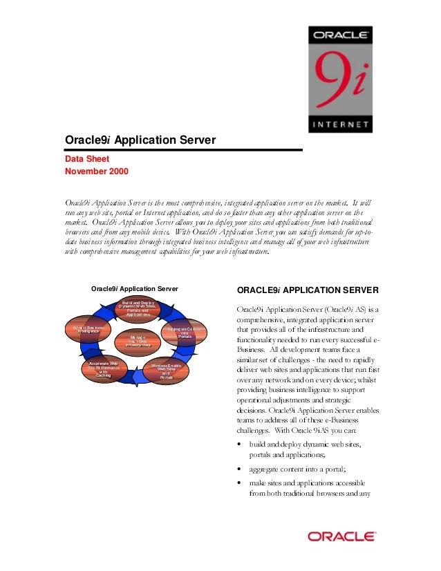 Oracle9i Application Server  Data Sheet  November 2000  2UDFOHL$SSOLFDWLRQ6HUYHULVWKHPRVWFRPSUHKHQVLYHLQWHJUDWHGDSSOLFDWLR...