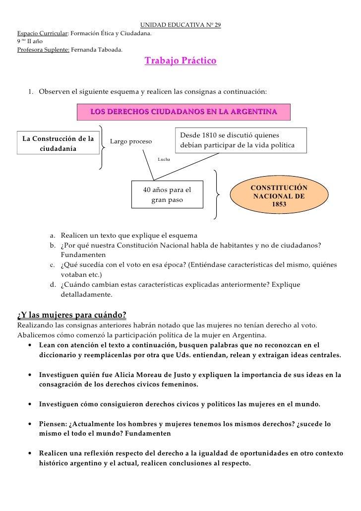 UNIDAD EDUCATIVA Nº 29 Espacio Curricular: Formación Ética y Ciudadana. 9 no II año Profesora Suplente: Fernanda Taboada. ...
