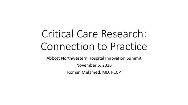 Critical Care Research: Connection to Practice