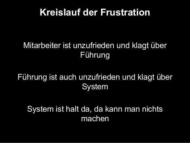 Kreislauf der Frustration  Mitarbeiter ist unzufrieden und klagt über  Führung  Führung ist auch unzufrieden und klagt übe...