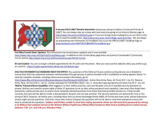 9 January 2013 1ABCT Weekly Newsletter: please pass along to Soldiers, Family and Friends of                              ...