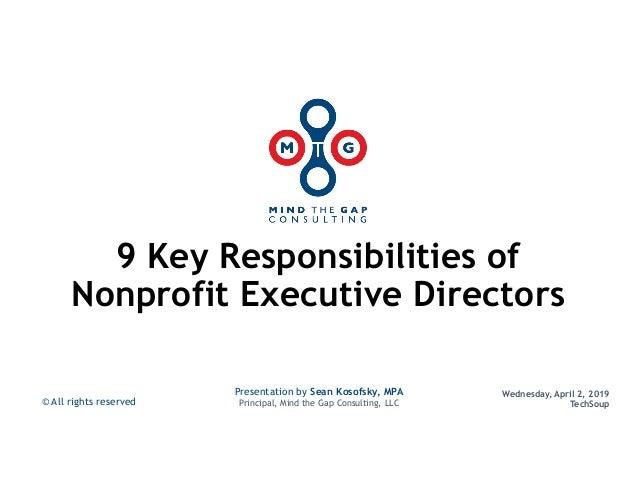 9 Key Responsibilities of Nonprofit Executive Directors