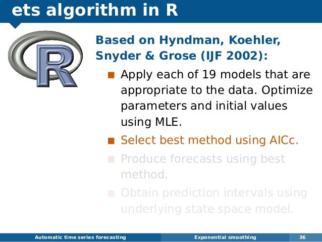 ets algorithm in R Automatic time series forecasting Exponential smoothing 36 Based on Hyndman, Koehler, Snyder  Grose (IJ...