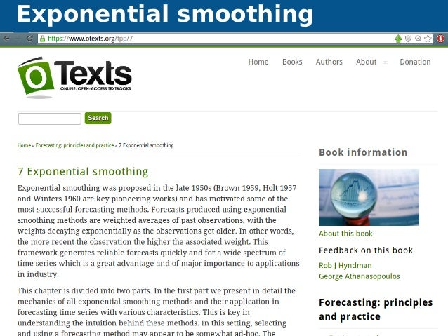 Exponential smoothing Automatic time series forecasting Exponential smoothing 43