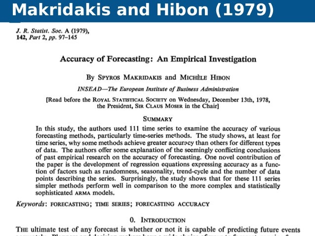 Makridakis and Hibon (1979) Automatic time series forecasting Forecasting competitions 8