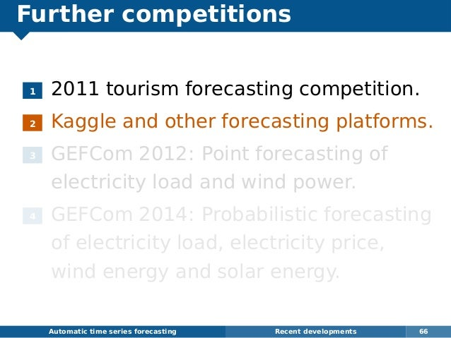 Further competitions 1 2011 tourism forecasting competition. 2 Kaggle and other forecasting platforms. 3 GEFCom 2012: Poin...