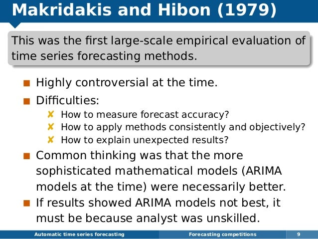 Makridakis and Hibon (1979) This was the first large-scale empirical evaluation of time series forecasting methods. Highly ...