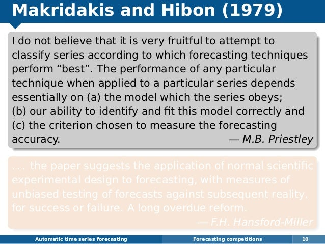 Makridakis and Hibon (1979) I do not believe that it is very fruitful to attempt to classify series according to which for...