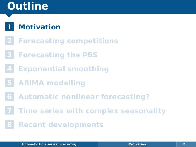 Outline 1 Motivation 2 Forecasting competitions 3 Forecasting the PBS 4 Exponential smoothing 5 ARIMA modelling 6 Automati...