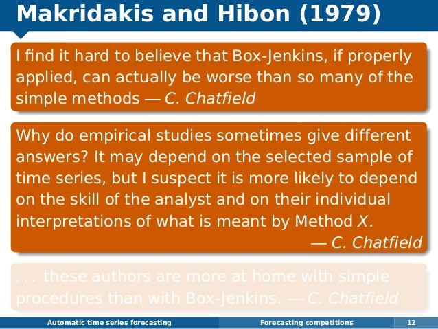 Makridakis and Hibon (1979) I find it hard to believe that Box-Jenkins, if properly applied, can actually be worse than so ...