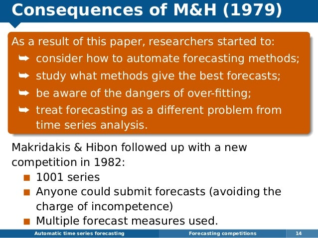 Consequences of MH (1979) As a result of this paper, researchers started to: ¯ consider how to automate forecasting method...