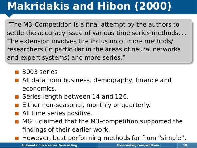 """Makridakis and Hibon (2000) """"The M3-Competition is a final attempt by the authors to settle the accuracy issue of various t..."""
