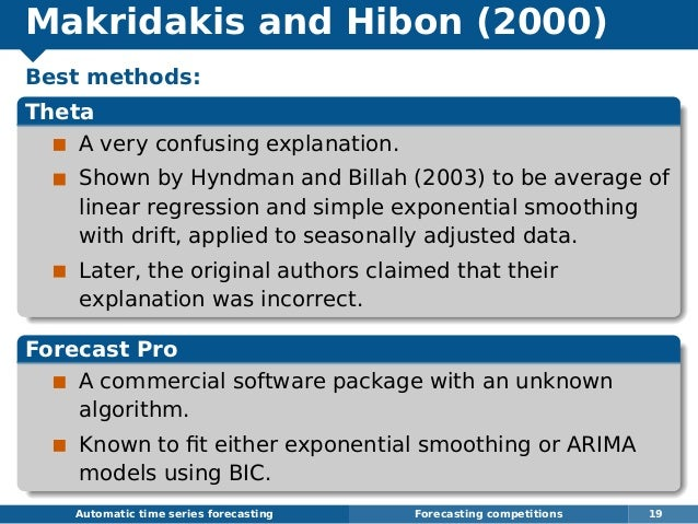 Makridakis and Hibon (2000) Best methods: Theta A very confusing explanation. Shown by Hyndman and Billah (2003) to be ave...