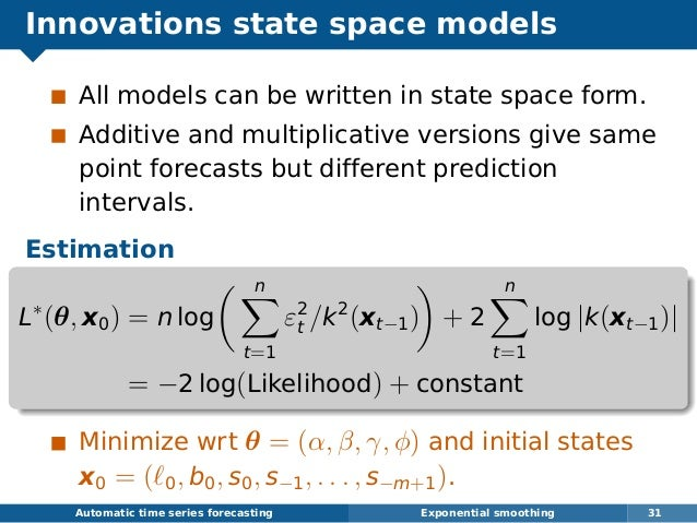 Innovations state space models All models can be written in state space form. Additive and multiplicative versions give sa...