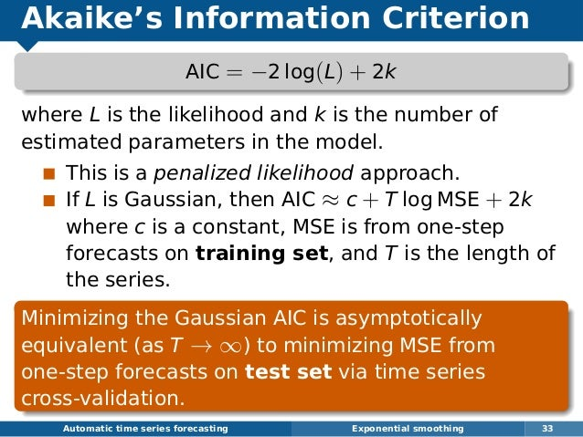 Akaike's Information Criterion AIC = −2 log(L) + 2k where L is the likelihood and k is the number of estimated parameters ...