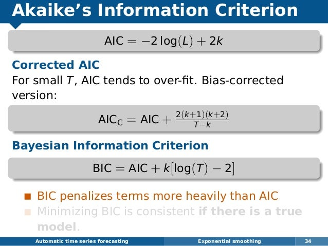 Akaike's Information Criterion AIC = −2 log(L) + 2k Corrected AIC For small T, AIC tends to over-fit. Bias-corrected versio...