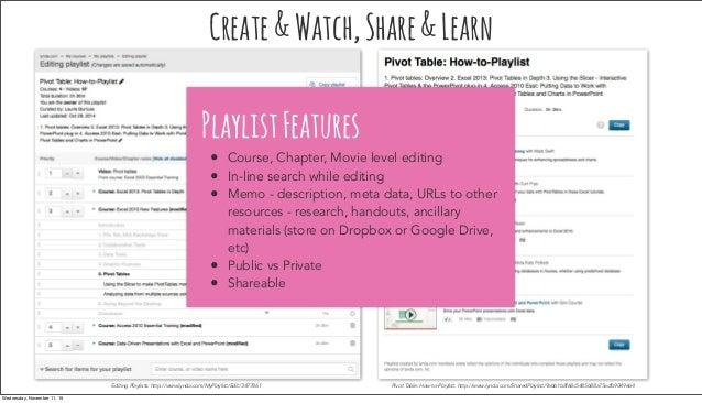 Editing Playlists: http://www.lynda.com/MyPlaylist/Edit/3477861 Pivot Table: How-to-Playlist: http://www.lynda.com/SharedP...