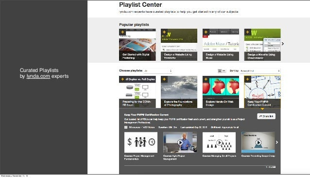 Curated Playlists by lynda.com experts Wednesday, November 11, 15