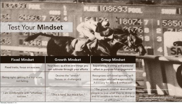 http://mindsetonline.com/ Test Your Mindset Fixed Mindset Growth Mindset Group Mindset Fixed traits, focus on success. You...