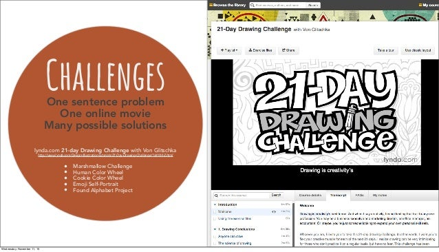 ChallengesOne sentence problem One online movie Many possible solutions lynda.com 21-day Drawing Challenge with Von Glitsc...