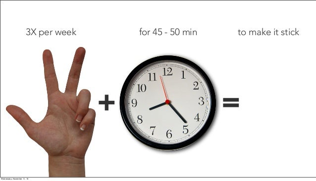 for 45 - 50 min + = 3X per week to make it stick Wednesday, November 11, 15